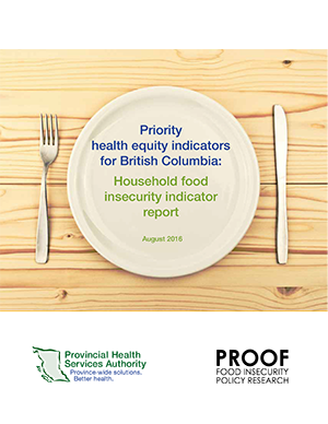 Priority health equity indicators for British Columbia: Household food insecurity indicator report