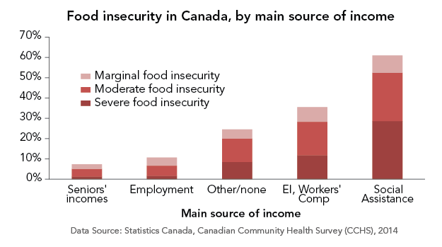 Graph of food insecurity by main source of income