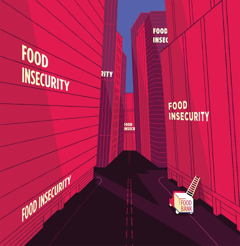"""Image of skyscrapers with words """"food insecurity"""" on them. A small truck with a short ladder labelled """"food bank"""" is on the road, representing the disconnect between food insecurity and food bank use."""