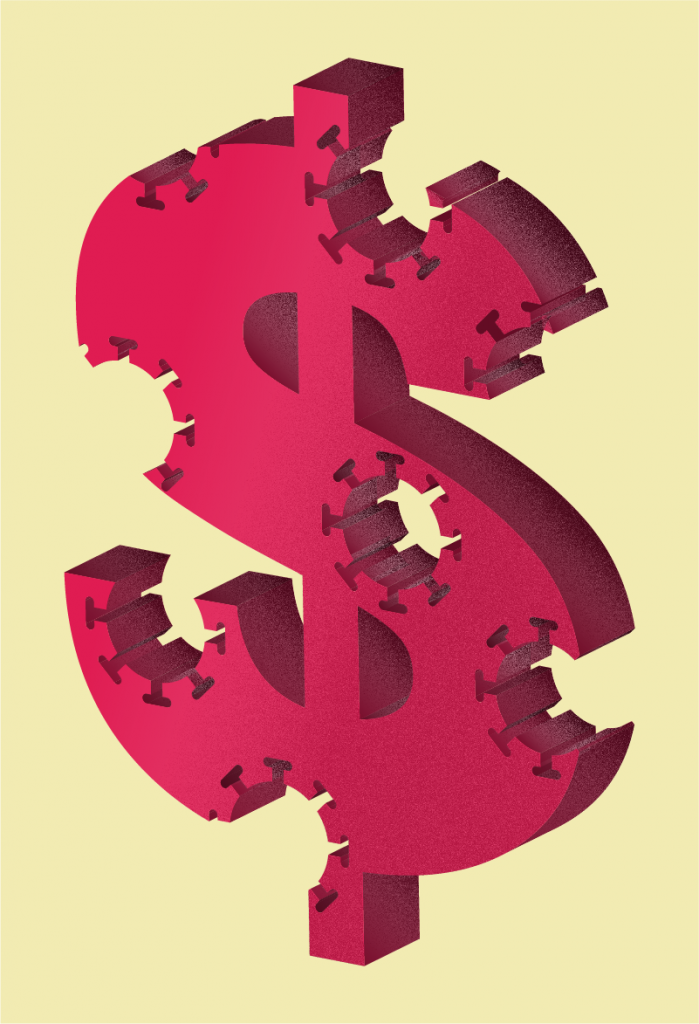 Image of a 3D dollar sign with cutouts in the shape of a COVID-19 virus.